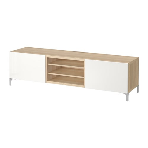 best banc tv avec tiroirs effet ch ne blanchi selsviken brillant blanc glissi re tiroir ouv. Black Bedroom Furniture Sets. Home Design Ideas
