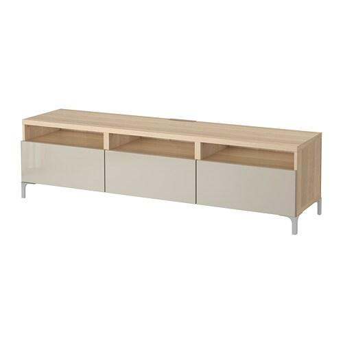 best banc tv avec tiroirs effet ch ne blanchi selsviken brillant beige glissi re tiroir. Black Bedroom Furniture Sets. Home Design Ideas