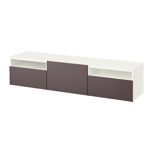 best banc tv blanc valviken brun fonc glissi re. Black Bedroom Furniture Sets. Home Design Ideas