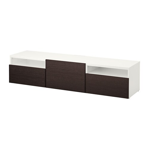 best banc tv blanc inviken brun noir glissi re tiroir fermeture silence ikea. Black Bedroom Furniture Sets. Home Design Ideas