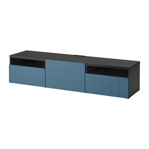 best banc tv brun noir hallstavik bleu fonc glissi re tiroir ouv par pression ikea. Black Bedroom Furniture Sets. Home Design Ideas