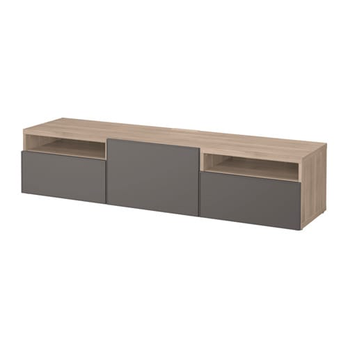 best banc tv motif noyer teint gris grundsviken gris fonc glissi re tiroir ouv par. Black Bedroom Furniture Sets. Home Design Ideas