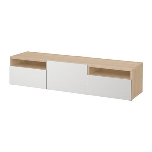 best banc tv effet ch ne blanchi lappviken gris clair glissi re tiroir ouv par pression ikea. Black Bedroom Furniture Sets. Home Design Ideas