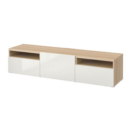 best banc tv effet ch ne blanchi selsviken brillant blanc glissi re tiroir ouv par pression. Black Bedroom Furniture Sets. Home Design Ideas