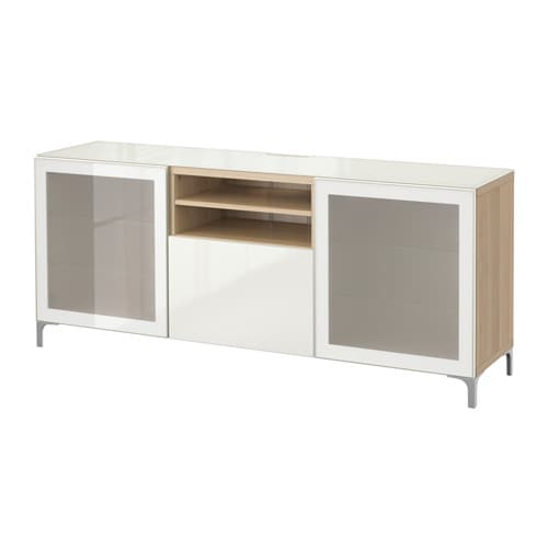 best banc tv effet ch ne blanchi selsviken brillant blanc verre givr glissi re tiroir ouv. Black Bedroom Furniture Sets. Home Design Ideas