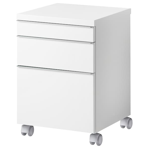 BESTÅ BURS Caisson à tiroirs sur roulettes, brillant blanc, 40x40 cm