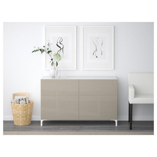 BESTÅ Combi rangement portes/tiroirs, blanc/Selsviken brillant/beige, 120x40x74 cm