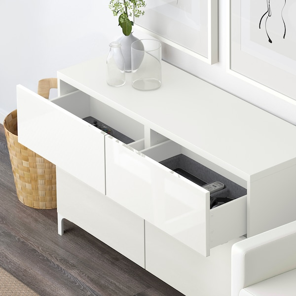 BESTÅ Combi rangement portes/tiroirs, blanc/Selsviken brillant/blanc, 120x40x74 cm