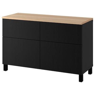 BESTÅ Combi rangement portes/tiroirs, brun noir/Lappviken/Stubbarp brun noir, 120x42x76 cm