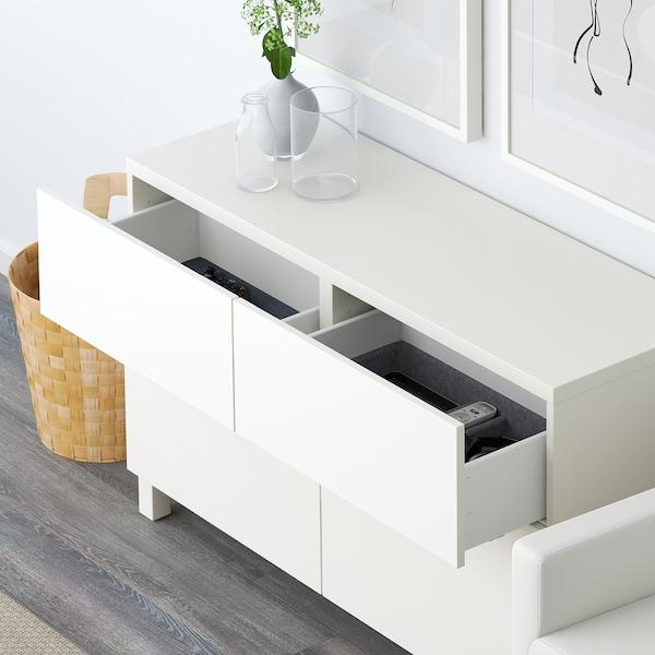 BESTÅ Combi rangement portes/tiroirs, Lappviken blanc, 120x40x74 cm