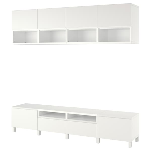 BESTÅ Combinaison meuble TV, blanc/Västerviken/Stubbarp blanc, 240x42x230 cm