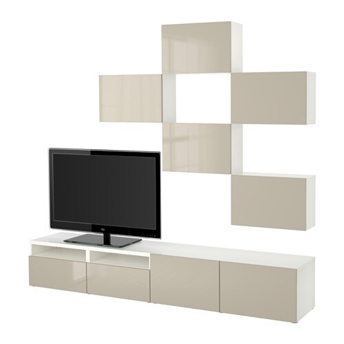 Best combinaison meuble tv blanc selsviken brillant for Meuble tv beige