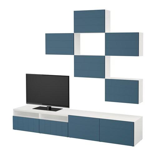 Best combinaison meuble tv blanc hallstavik bleu fonc for Meuble tv gris fonce