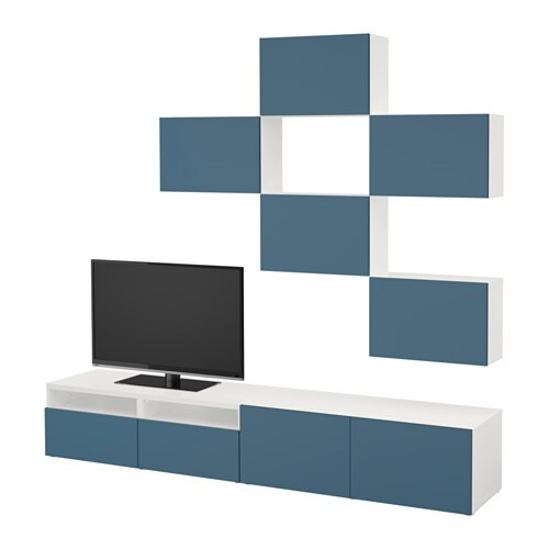 Best combinaison meuble tv blanc valviken bleu fonc for Ikea meuble mural besta