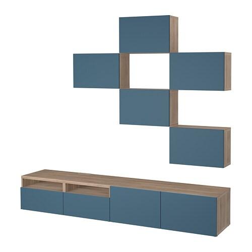 best combinaison meuble tv motif noyer teint gris valviken bleu fonc glissi re tiroir. Black Bedroom Furniture Sets. Home Design Ideas