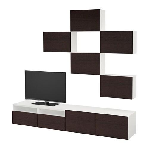 best combinaison meuble tv blanc inviken brun noir. Black Bedroom Furniture Sets. Home Design Ideas