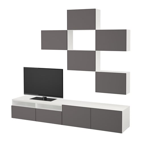 best combinaison meuble tv blanc grundsviken gris fonc. Black Bedroom Furniture Sets. Home Design Ideas