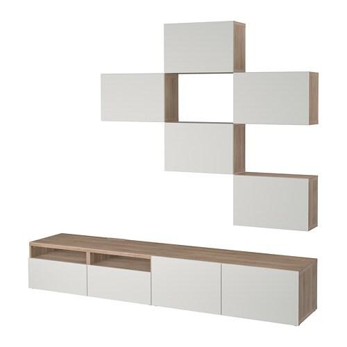 best combinaison meuble tv motif noyer teint gris lappviken gris clair glissi re tiroir. Black Bedroom Furniture Sets. Home Design Ideas