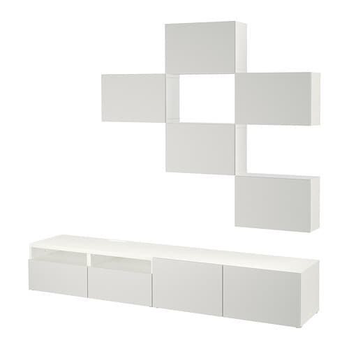 best combinaison meuble tv blanc lappviken gris clair glissi re tiroir fermeture silence ikea. Black Bedroom Furniture Sets. Home Design Ideas
