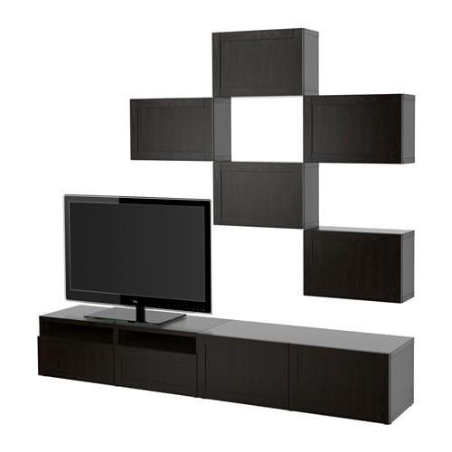 Best combinaison meuble tv hanviken brun noir for Meuble ikea besta