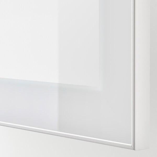BESTÅ Combinaison rangement murale, blanc/Glassvik blanc, 60x42x64 cm