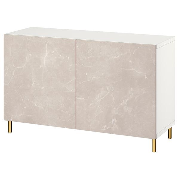 BESTÅ Combinaison rangement portes, blanc Bergsviken/Ösarp/beige marbré, 120x42x74 cm