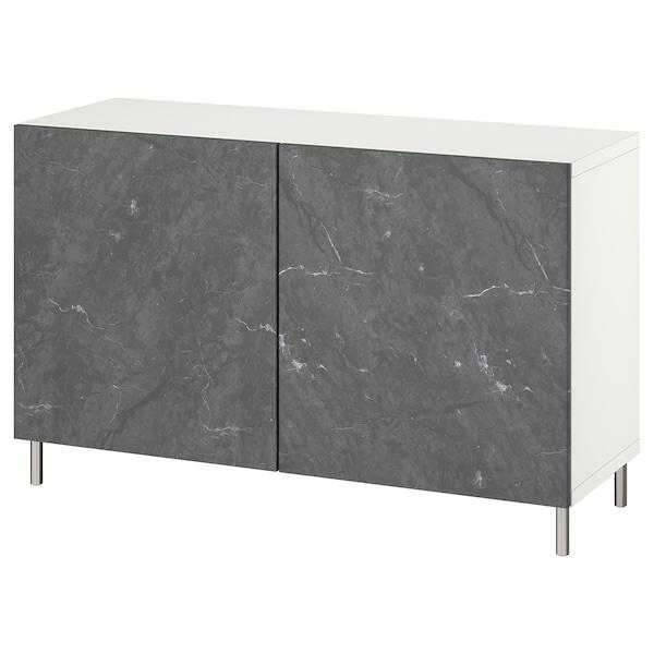 BESTÅ Combinaison rangement portes, blanc Bergsviken/Ösarp/noir marbré, 120x42x74 cm