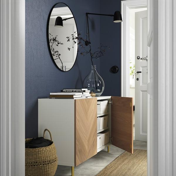 BESTÅ Combinaison rangement portes, blanc/Hedeviken/Ösarp plaqué chêne, 120x42x74 cm