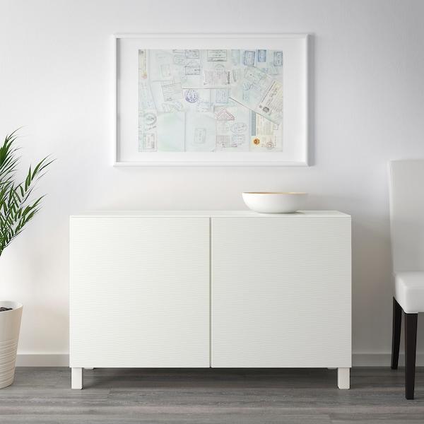 BESTÅ Combinaison rangement portes, blanc/Laxviken blanc, 120x40x74 cm