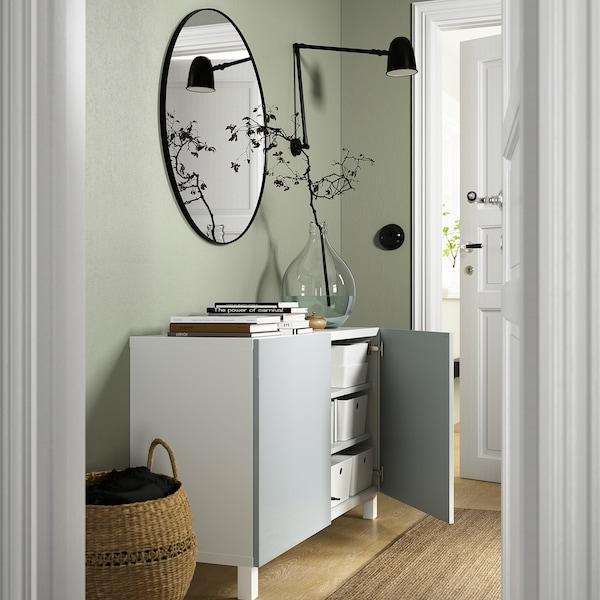 BESTÅ Combinaison rangement portes, blanc Selsviken/Stubbarp/brillant bleu gris clair, 120x42x74 cm