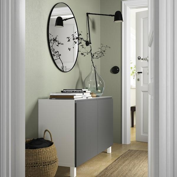 BESTÅ Combinaison rangement portes, blanc/Västerviken/Stubbarp gris foncé, 120x42x74 cm
