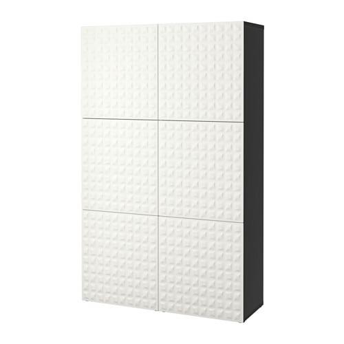 BESTÅ Combinaison rangement portes  brun noirDjupviken blanc  IKEA