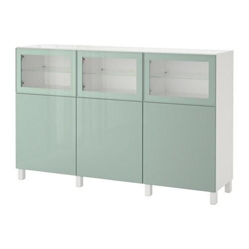 best combinaison rangement portes blanc selsviken brillant gris vert clair verre transparent. Black Bedroom Furniture Sets. Home Design Ideas