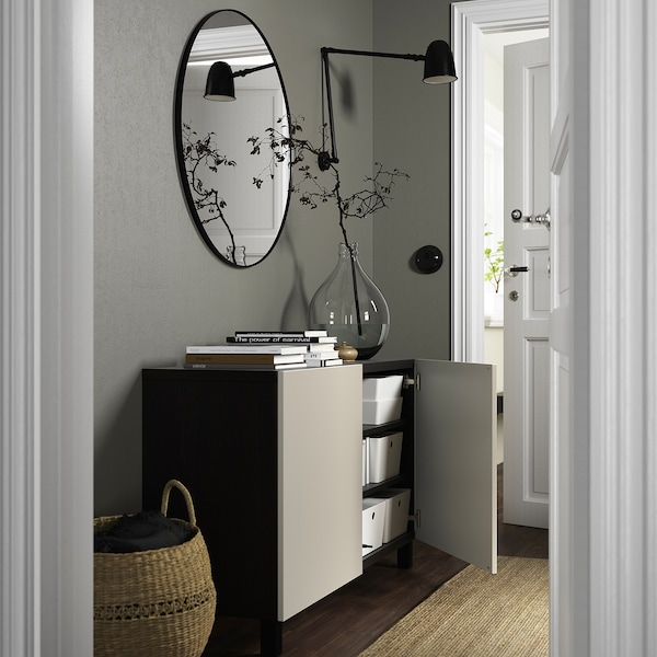 BESTÅ Combinaison rangement portes, brun noir/Lappviken/Stubbarp beige-gris clair, 120x42x74 cm