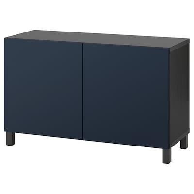 BESTÅ Combinaison rangement portes, brun noir/Notviken/Stubbarp bleu, 120x42x74 cm