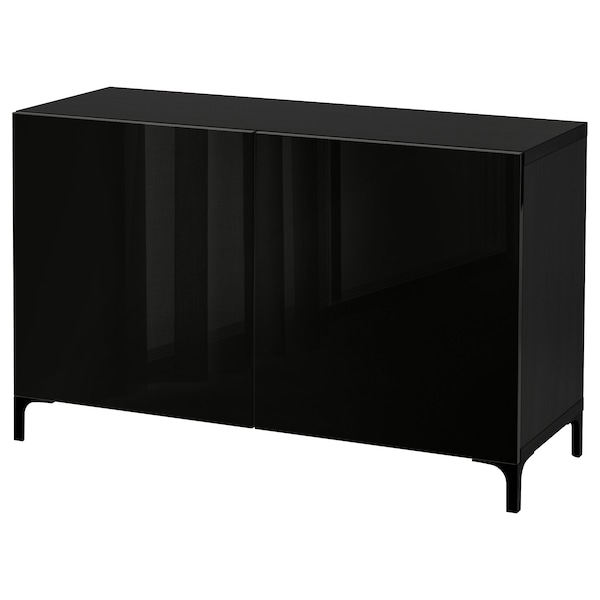 BESTÅ Combinaison rangement portes, brun noir/Selsviken brillant/noir, 120x42x74 cm
