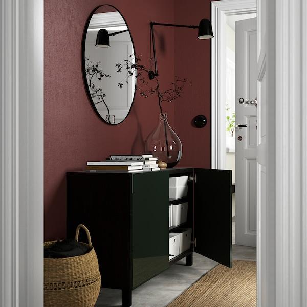 BESTÅ Combinaison rangement portes, brun noir Selsviken/Stubbarp/brillant vert olive foncé, 120x42x74 cm