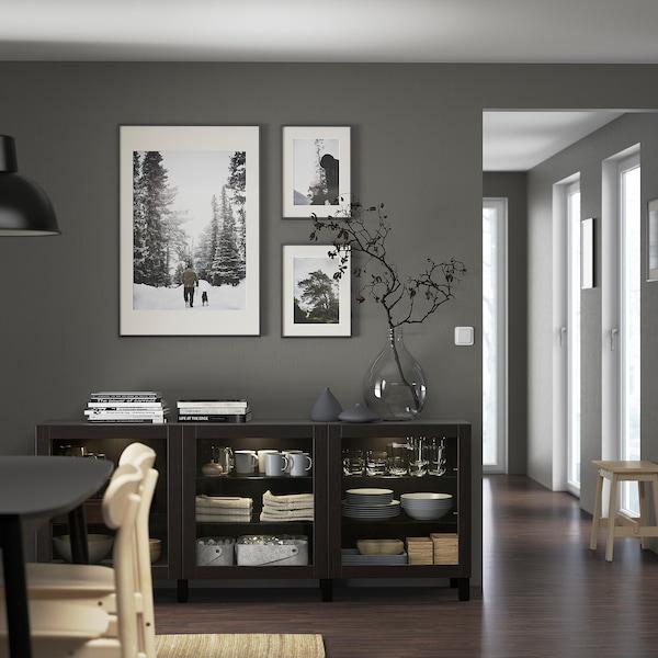 BESTÅ Combinaison rangement portes, brun noir/Sindvik/Stubbarp brun noir verre transparent, 180x42x74 cm