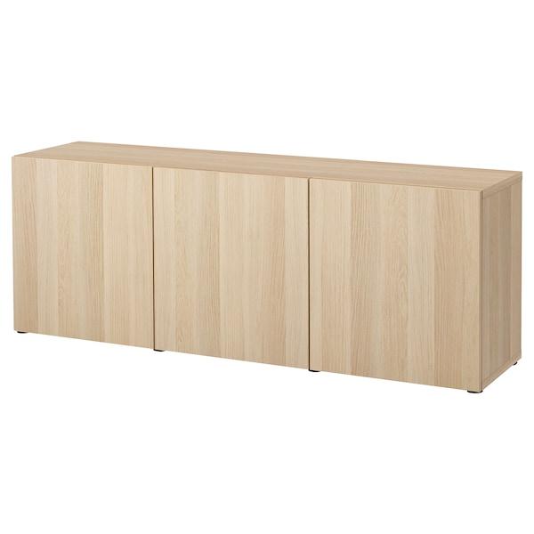 BESTÅ Combinaison rangement portes, effet chêne blanchi/Lappviken effet chêne blanchi, 180x42x65 cm