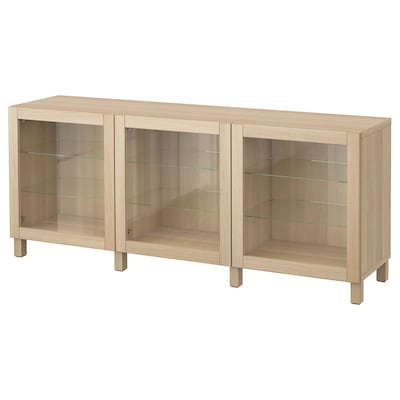 BESTÅ Combinaison rangement portes, effet chêne blanchi/Sindvik/Stubbarp motif chêne blanchi verre transp, 180x42x74 cm