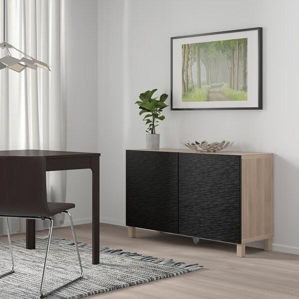 BESTÅ Combinaison rangement portes, motif noyer teinté gris/Laxviken/Stubbarp noir, 120x42x74 cm