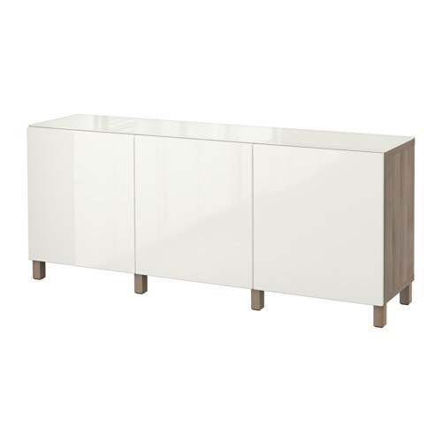 Best Combinaison Rangement Portes Motif Noyer Teint Gris Selsviken Brillant Blanc Ikea