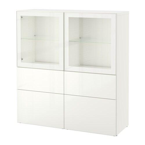 Best Combinaison Rangement Ptes Vitr Es Blanc Selsviken Brillant Blanc Verre Transparent
