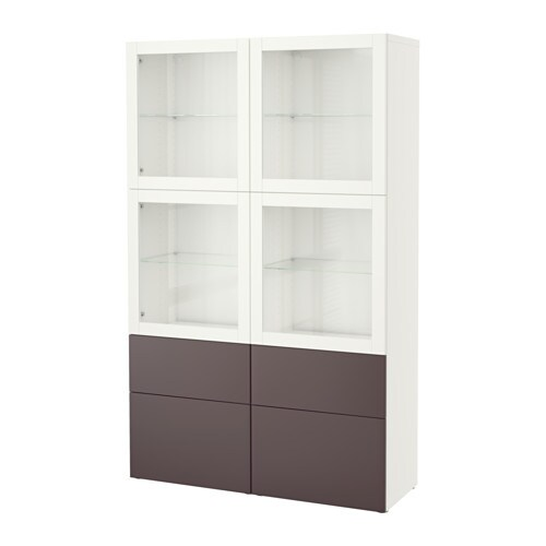 best combinaison rangement ptes vitr es blanc valviken brun fonc verre transparent. Black Bedroom Furniture Sets. Home Design Ideas