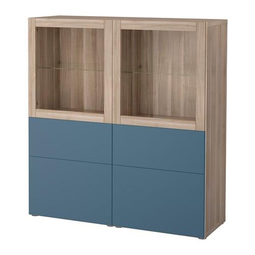 best combinaison rangement ptes vitr es motif noyer teint gris valviken bleu fonc verre. Black Bedroom Furniture Sets. Home Design Ideas