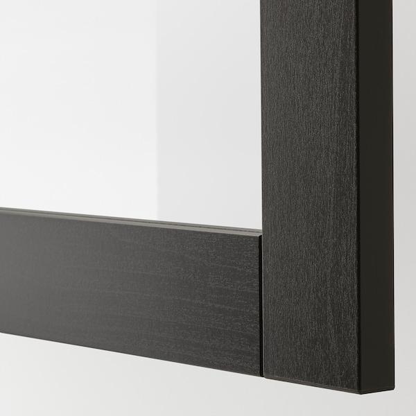 BESTÅ Combinaison rangement ptes vitrées, brun noir Hanviken/Sindvik brun noir verre transparent, 120x42x193 cm