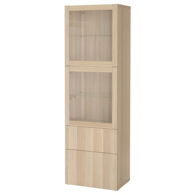 BESTÅ Combinaison rangement ptes vitrées, effet chêne blanchi/Lappviken motif chêne blanchi verre transp, 60x42x193 cm