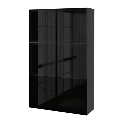 Best Combinaison Rangement Ptes Vitr Es Brun Noir Selsviken Brillant Noir Verre Fum
