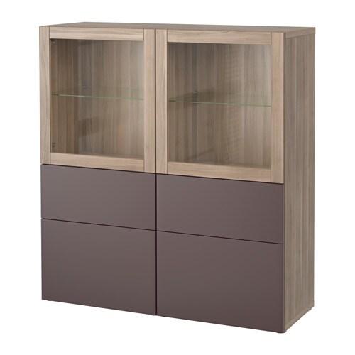 best combinaison rangement ptes vitr es motif noyer teint gris valviken brun fonc verre. Black Bedroom Furniture Sets. Home Design Ideas