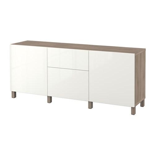 best combinaison rangement tiroirs motif noyer teint gris selsviken brillant blanc. Black Bedroom Furniture Sets. Home Design Ideas